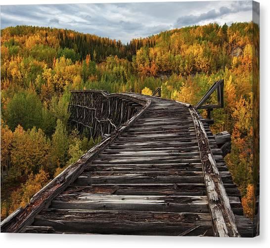 Old Train Canvas Print - Bridge To Nowhere... by Doug Roane