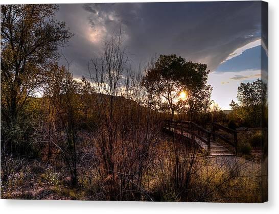 Bridge To Sunset Canvas Print