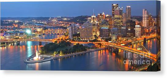 Bridge To The Pittsburgh Skyline Canvas Print