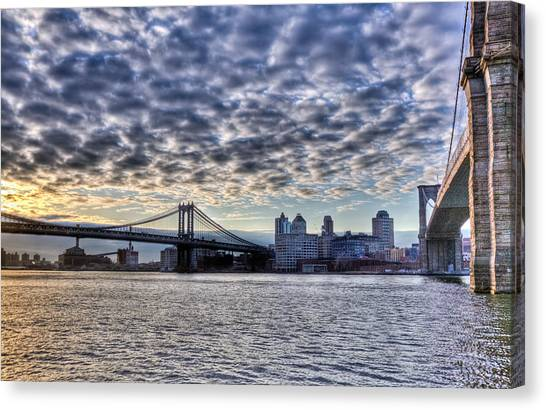 Sunrise Horizon Canvas Print - Bridges Of New York by Matthew Bamberg