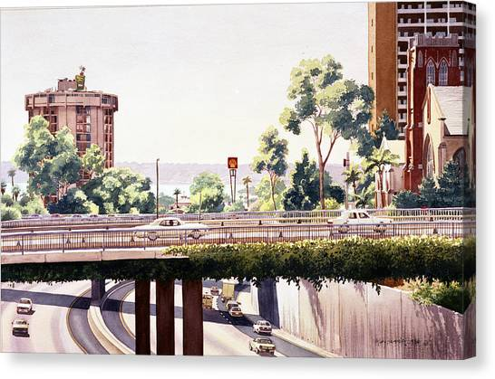 Traffic Canvas Print - Bridges Over Rt 5 Downtown San Diego by Mary Helmreich