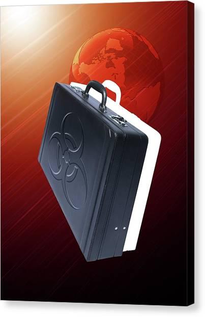 Biohazard Canvas Print - Briefcase With Biohazard Symbol by Victor Habbick Visions