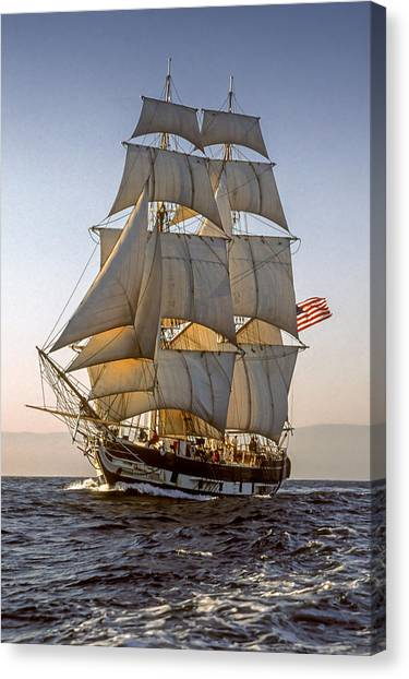 Brig Pilgrim Off Santa Barbara Canvas Print
