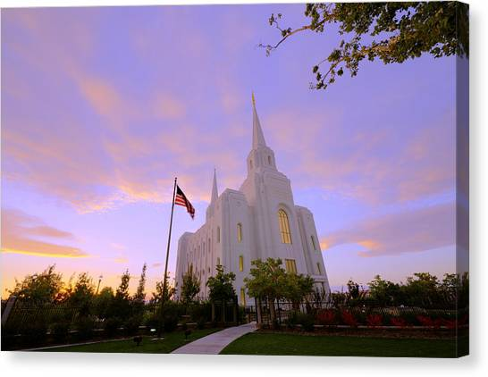 Late Canvas Print - Brigham City Temple I by Chad Dutson