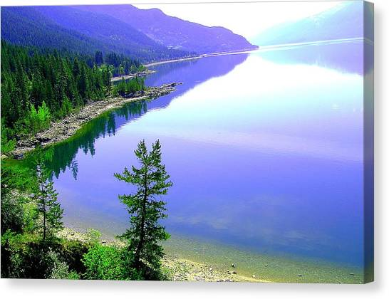 Bright Kootenay Lake Canvas Print by Mavis Reid Nugent