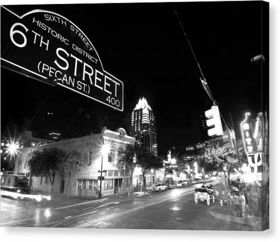 Austin Texas Canvas Print - Bright Lights At Night by John Gusky