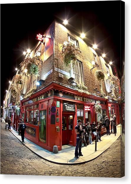 Bright Lights Of Temple Bar In Dublin Ireland Canvas Print