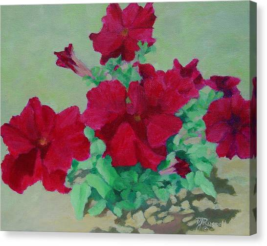 Red Flowers Art Brilliant Petunias Bright Floral  Canvas Print
