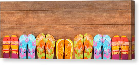 Brightly Colored Flip-flops On Wood  Canvas Print