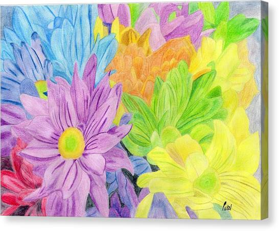 Brightly Coloured Flowers Canvas Print by Bav Patel