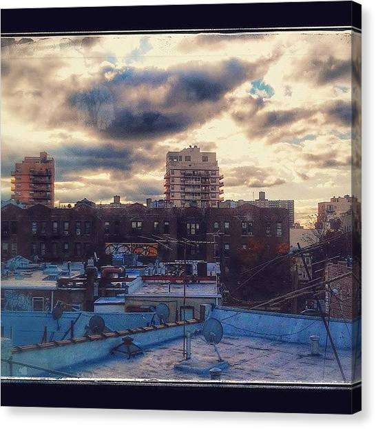 Satellite Canvas Print - Rooftops To Coney Island  by Alejandro Reyes