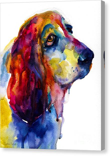 Brilliant Basset Hound Watercolor Painting Canvas Print