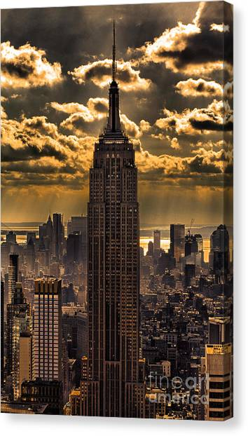New York Canvas Print - Brilliant But Hazy Manhattan Day by John Farnan