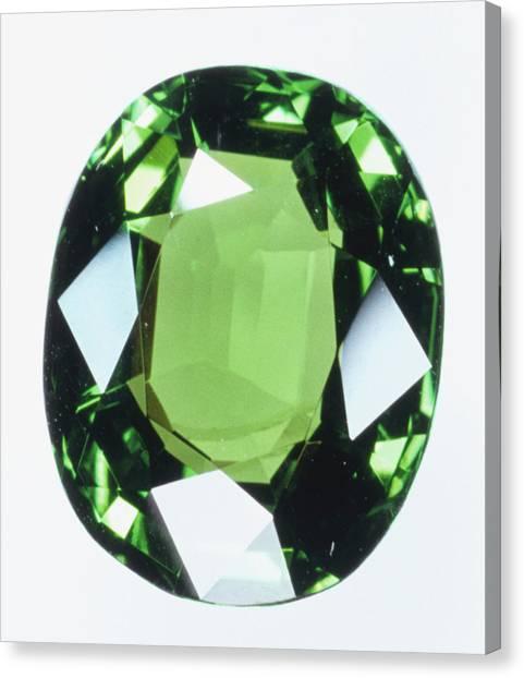 Gemstones Canvas Print - Brilliant Cut Green Grossular (garnet) by Dorling Kindersley/uig