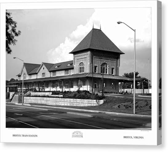 Bristol Train Station Bw Canvas Print