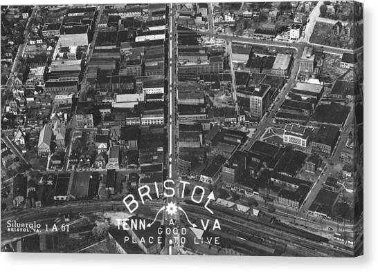 Bristol Virginia Tennessee Early Aerial Photo Canvas Print