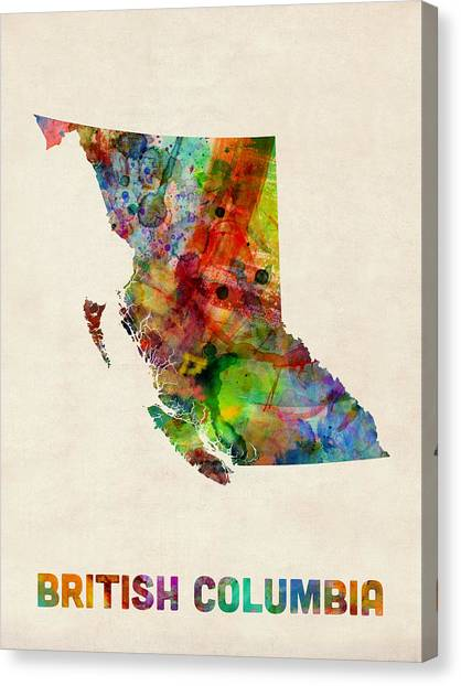 Geography Canvas Print - British Columbia Watercolor Map by Michael Tompsett