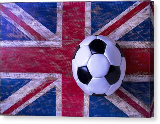Soccer Canvas Print - British Flag And Soccer Ball by Garry Gay