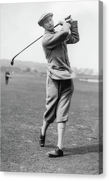British Golfer Sir Ernest Holderness Swinging Canvas Print by Artist Unknown
