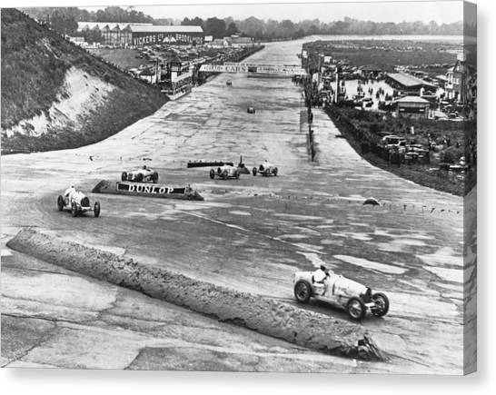 Racecar Drivers Canvas Print - British Grand Prix Auto Race by Underwood Archives