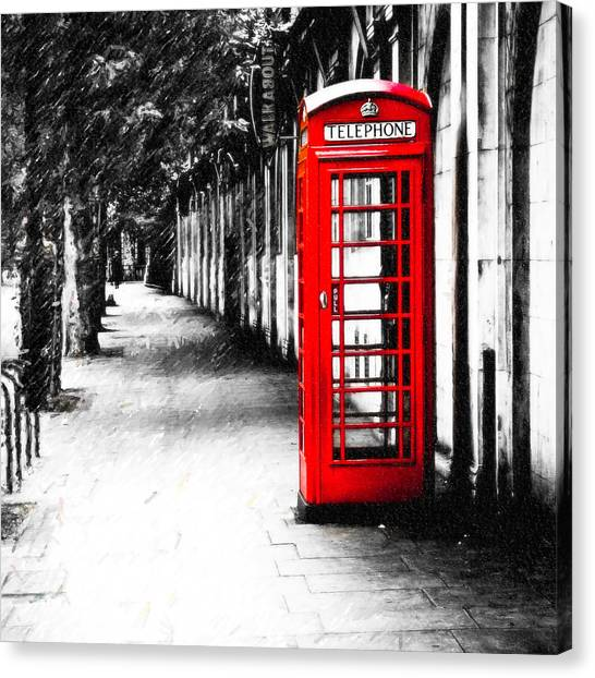 Neoclassical Art Canvas Print - British Red Telephone Box From London by Mark E Tisdale