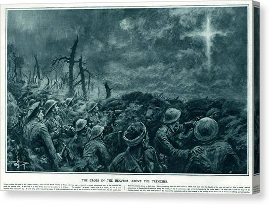 British Troops See The Cross Of Jesus Canvas Print by  Illustrated London News Ltd/Mar