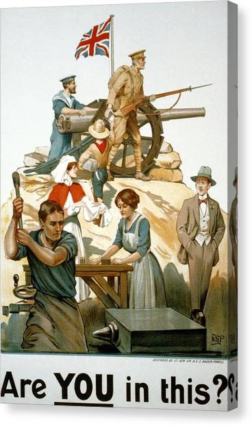 Boy Scouts Canvas Print - British World War I Poster 1917 by Robert Baden Powell