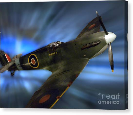 Blue Camo Canvas Print - British Ww II Fighter Plane by Thomas Woolworth