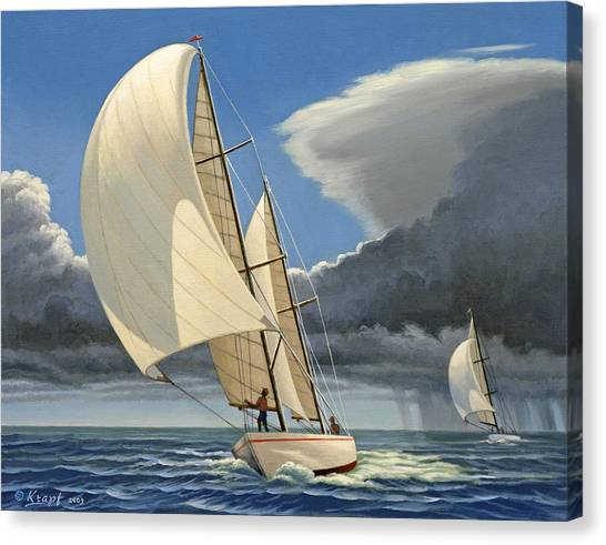 Sailboats Canvas Print - Broad Reach by Paul Krapf