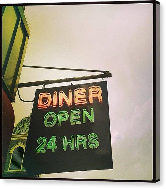 Jerseys Canvas Print - Broadway Diner #sign #signage #diner by Red Jersey