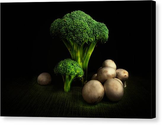 Broccoli Canvas Print - Broccoli Crowns And Mushrooms by Tom Mc Nemar