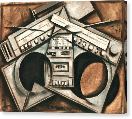 Broken Beats Vintage Stereo Boombox Art Print Canvas Print