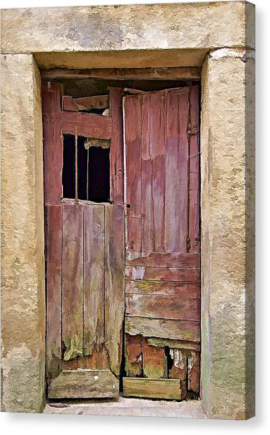 Broken Red Wood Door Canvas Print