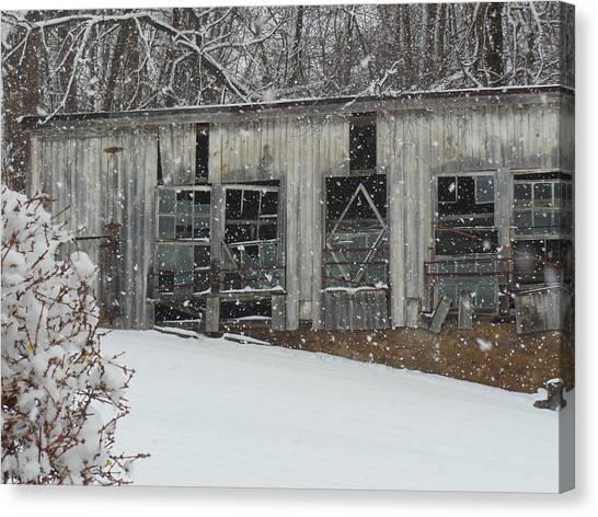Broken Windows In The Snow Canvas Print by Sharon Costa
