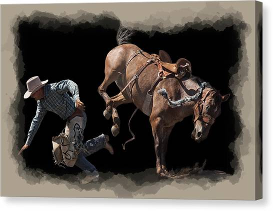 Bareback Canvas Print - Bronco Busted by Daniel Hagerman