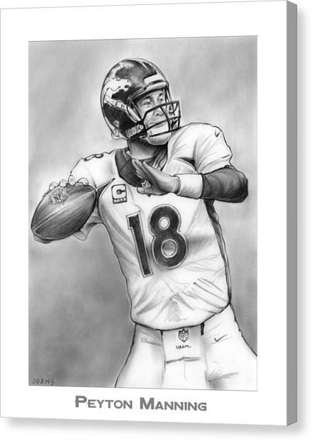 Quarterbacks Canvas Print - Broncos Peyton Manning by Greg Joens