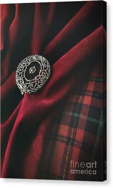 Plaid Canvas Print - Brooch With Red Velvet And Green Plaid by Sandra Cunningham