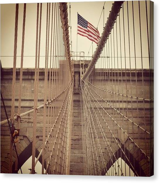 Big Red Canvas Print - Brooklyn Bridge by Nicolaj Boettcher