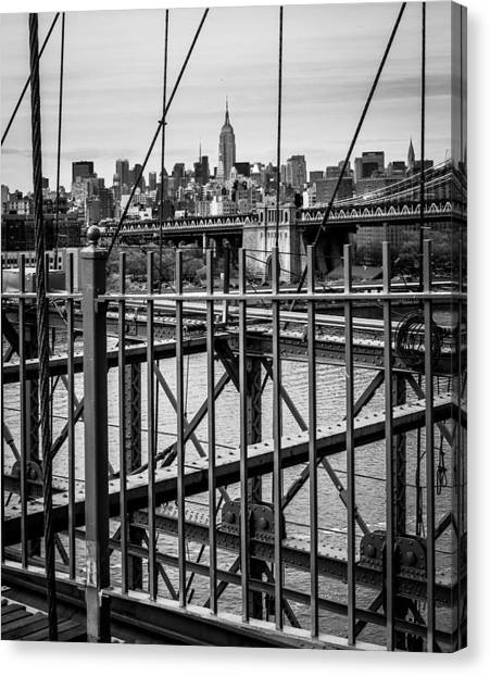 Brooklyn Bridge 2853 Bw Canvas Print by Deidre Elzer-Lento
