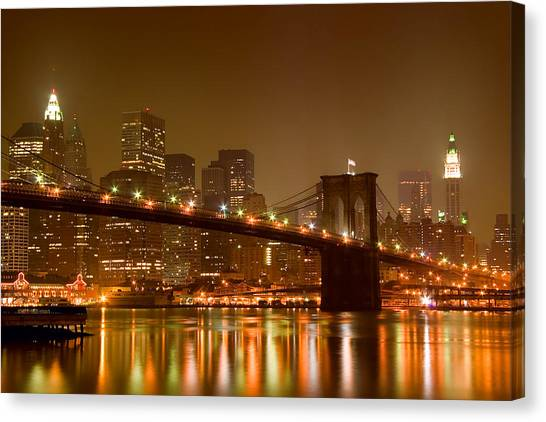 Broadway Canvas Print - Brooklyn Bridge And Downtown Manhattan by Val Black Russian Tourchin