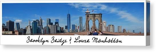 Brooklyn Bridge And Lower Manhattan Script Canvas Print
