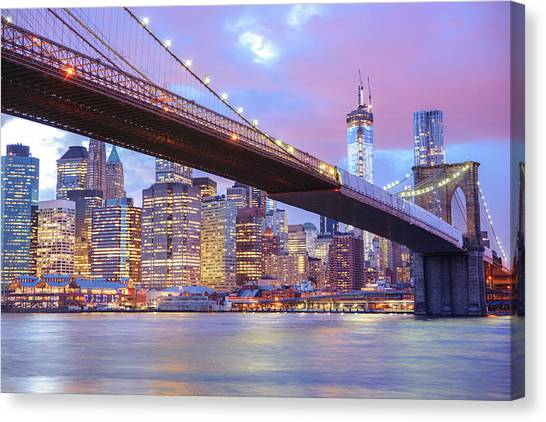 City Sunsets Canvas Print - Brooklyn Bridge And New York City Skyscrapers by Vivienne Gucwa