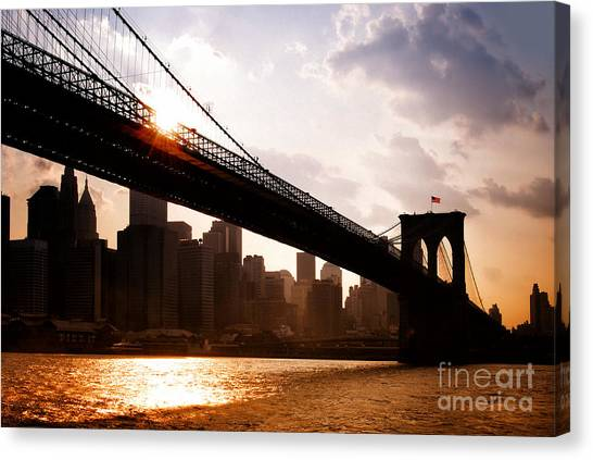 Brooklyn Bridge And Skyline Manhattan New York City Canvas Print