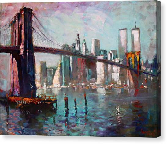 Seagulls Canvas Print - Brooklyn Bridge And Twin Towers by Ylli Haruni