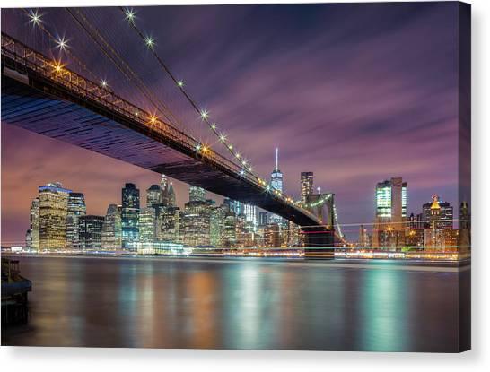 Manhattan Canvas Print - Brooklyn Bridge At Night by Michael Zheng