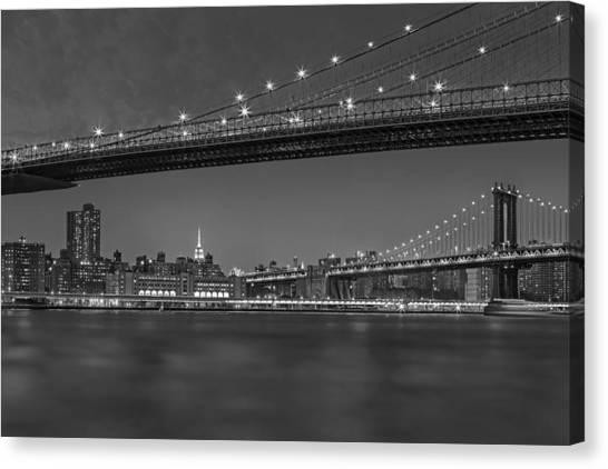 Brooklyn Bridge Canvas Print - Brooklyn Bridge Frames Manhattan Bw by Susan Candelario
