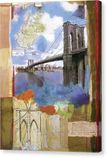 Ny Canvas Print - Brooklyn Bridge II by Andrew Sullivan