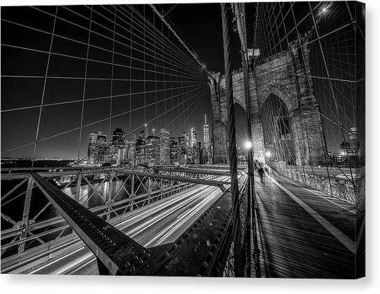 Brooklyn Bridge Canvas Print - Brooklyn Bridge Lights by Stefan Schilbe