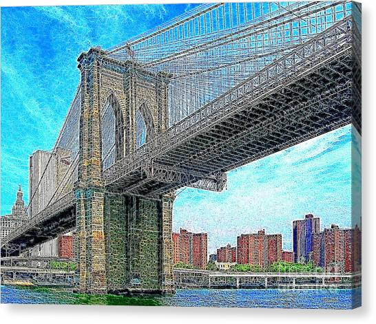 Brooklyn Bridge New York 20130426 Canvas Print by Wingsdomain Art and Photography