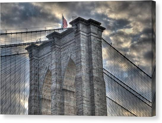 Sunrise Horizon Canvas Print - Brooklyn Bridge Tower by Matthew Bamberg
